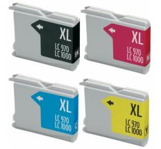 Compatible Pack 4 x Tinta BROTHER LC1000XL / LC970XL LC-1000 / LC-970