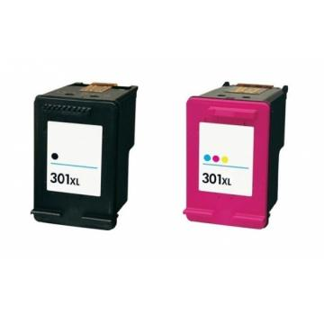 Compatible Pack 2 x Tinta HP 301XL V4 Negro + Tricolor CH563EE / CH564EE