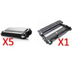 Compatible Pack 5 x BROTHER TN3330/TN3380 Toner Negro Compatible + Tambor BROTHER DR3300 Compatible